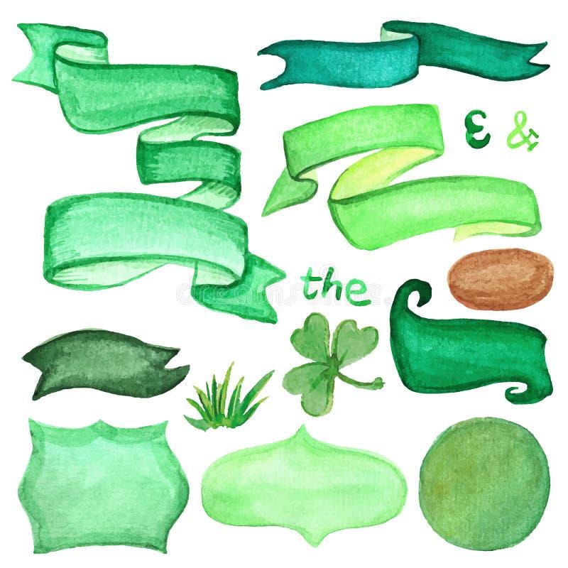 Retro insieme dei nastri e di etichette dell'acquerello Verde illustrazione vettoriale