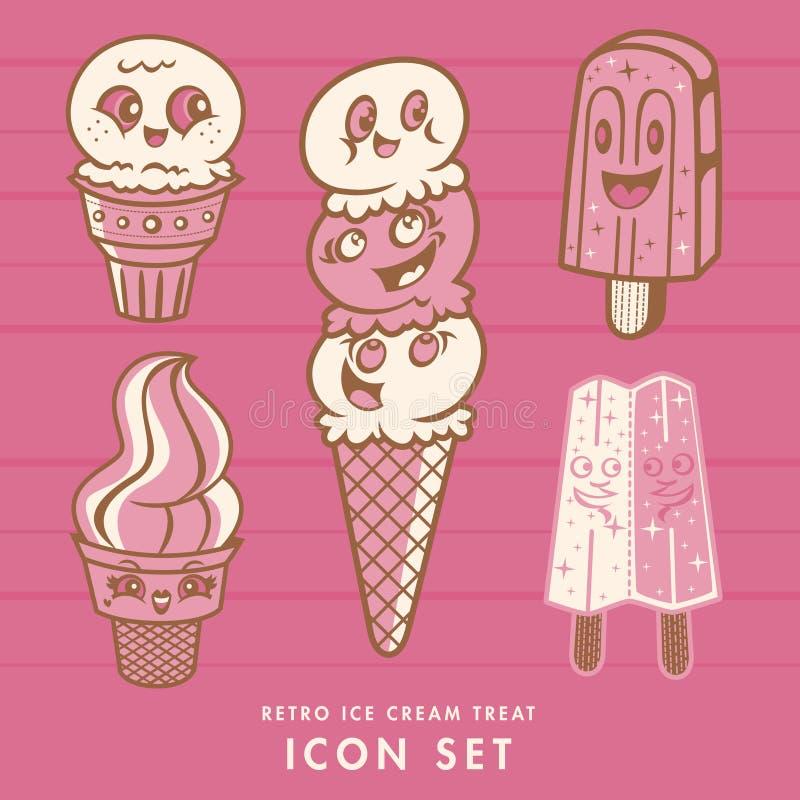 Retro insieme dell'icona del gelato fotografia stock libera da diritti