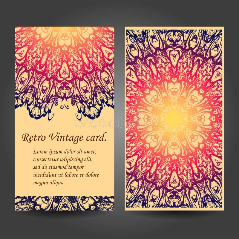Retro insieme di biglietti da visita della mandala Vettore royalty illustrazione gratis
