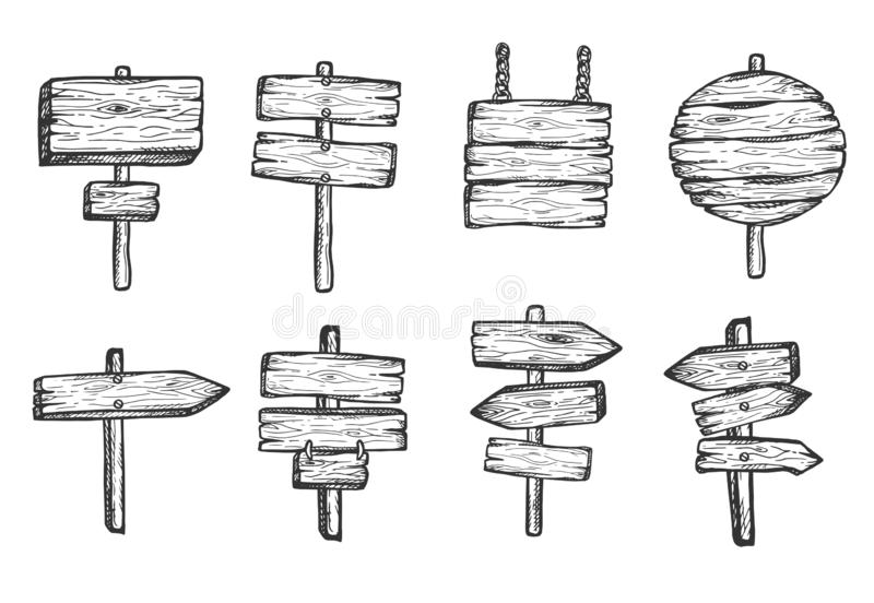 Retro insieme di legno vuoto dei puntatori royalty illustrazione gratis