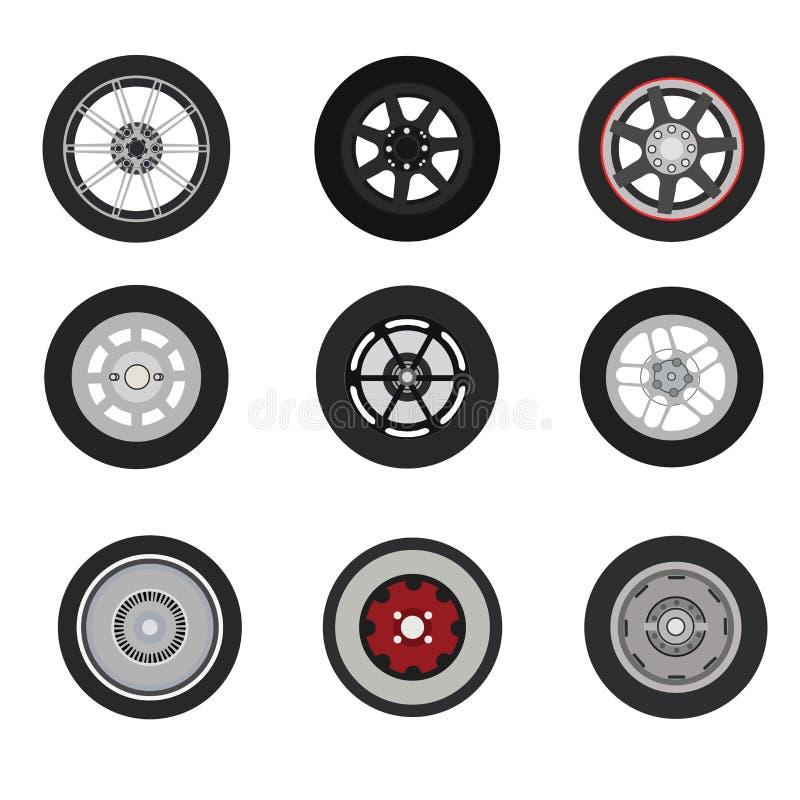 Retro insieme di ruota del classico delle automobili e delle automobili sportive illustrazione vettoriale