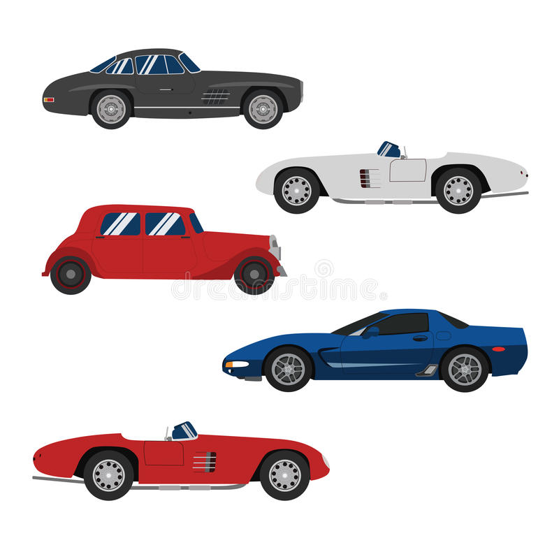 Retro insieme di ruota del classico delle automobili e delle automobili sportive royalty illustrazione gratis