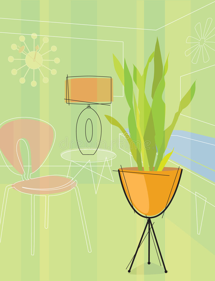 Retro-inspired room (Vector) royalty free illustration
