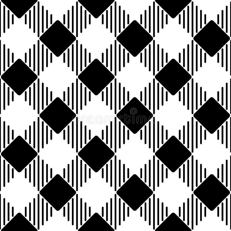 Retro Inspirowany Czarny I Biały wzór royalty ilustracja