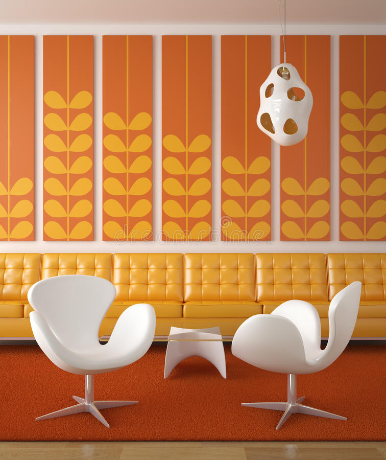 Retro interior design orange. Retro interior design in orange and yellow colors with two white chairs in front stock illustration