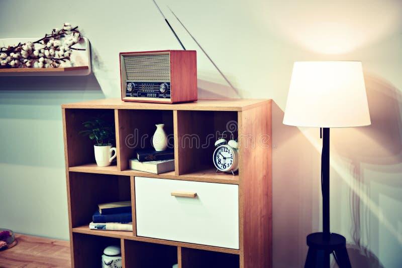 Retro interior with vintage radio royalty free stock photography