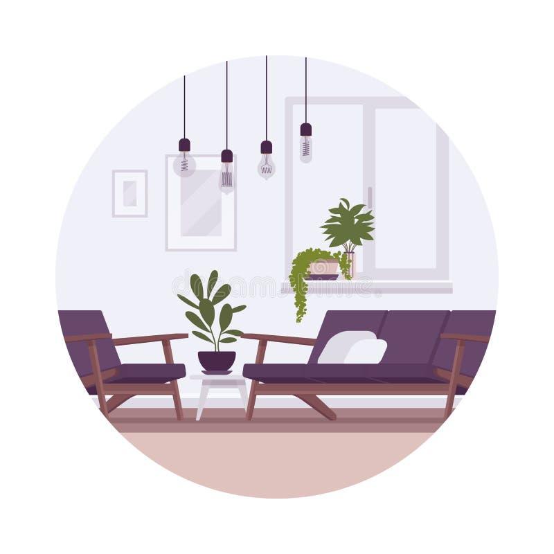 Retro interno con le lampade, sofà, poltrona, piante illustrazione di stock