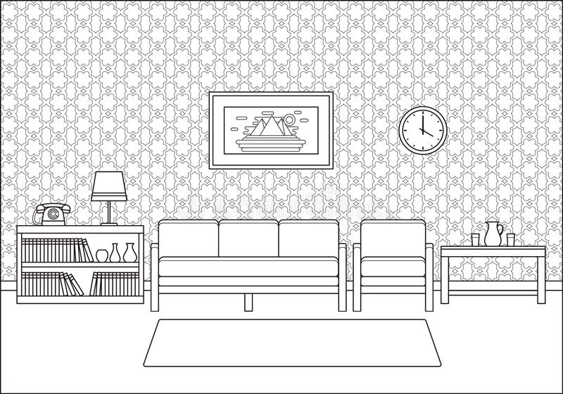 Retro interno della stanza nella linea progettazione piana di arte Illustrazione di vettore illustrazione vettoriale