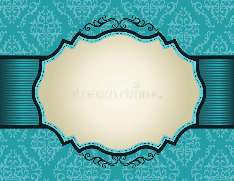 Download Retro Invitation Frame On Damask Pattern Backgroun Stock Vector - Image: 30829353