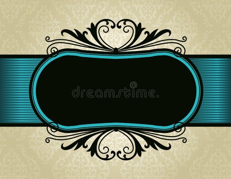 Retro Invitation Frame On Damask Pattern Backgroun Royalty Free Stock Images