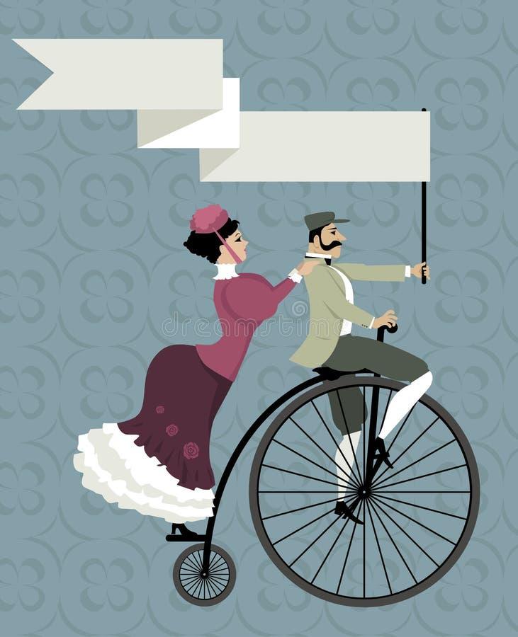 Retro invito con una coppia di ciclismo illustrazione vettoriale
