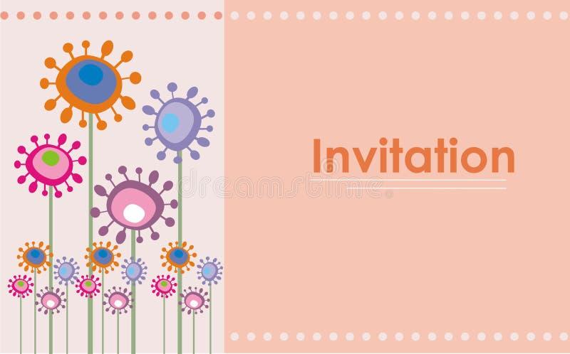 Retro invito sveglio dei fiori royalty illustrazione gratis
