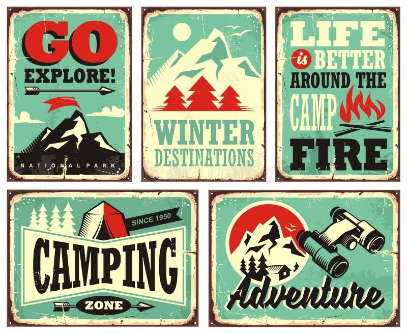 Retro inzameling van de tekens van de de wintervakantie stock illustratie