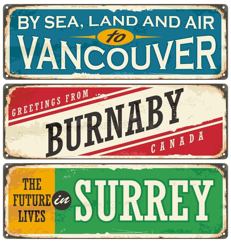 Retro inzameling van het tinteken met de steden van Canada stock illustratie