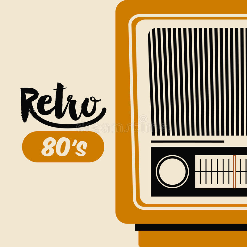 Retro isolerad symbolsdesign för radio affisch stock illustrationer