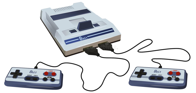 Retro- isometrische Art der Videospielkonsole 3d Alte Schulspiel Spielauflage steuerkn?ppel Weinlesehippie-Technologie klassisch  vektor abbildung