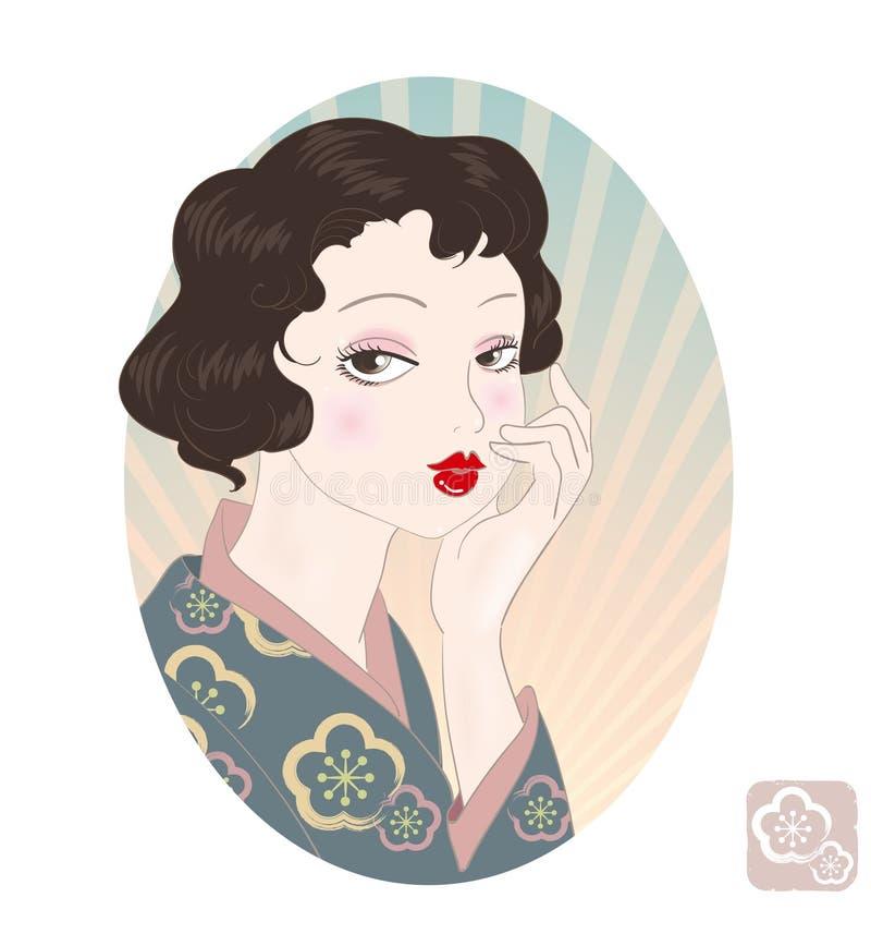 Retro Japonia kobiety wizerunek ilustracja wektor