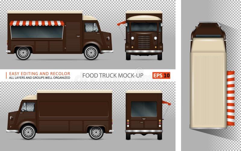 Retro jedzenie ciężarówki wektoru mockup royalty ilustracja