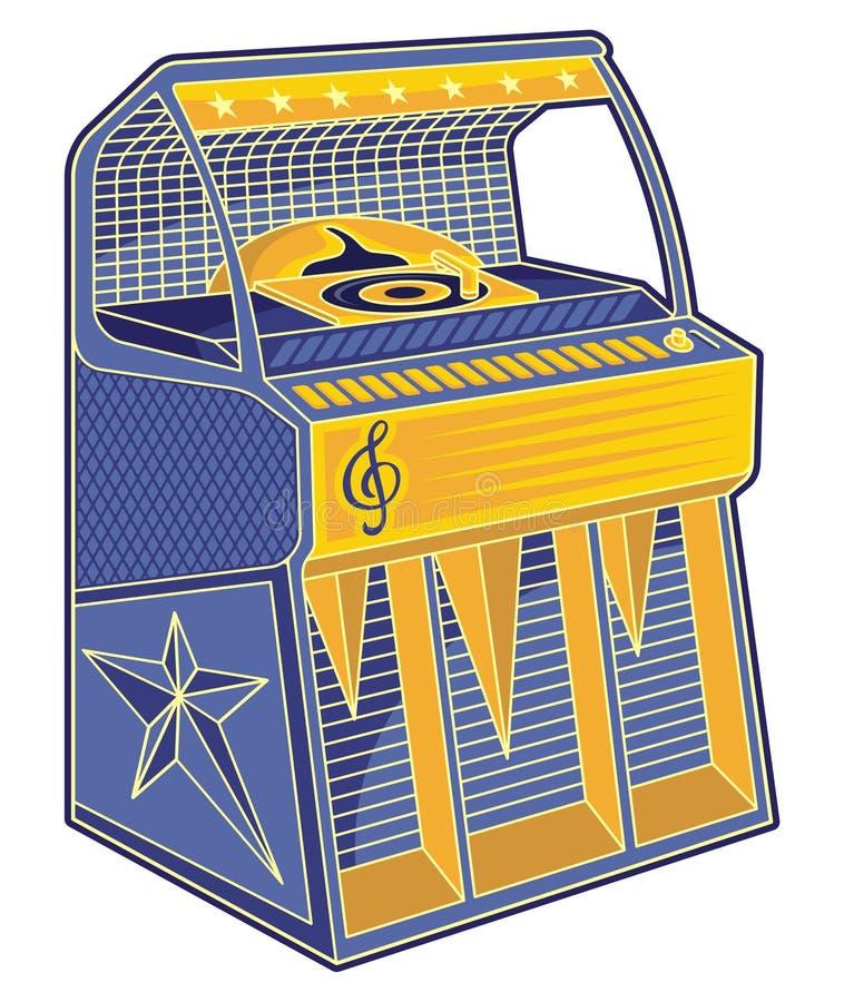 Retro juke-box lineart vector illustratie