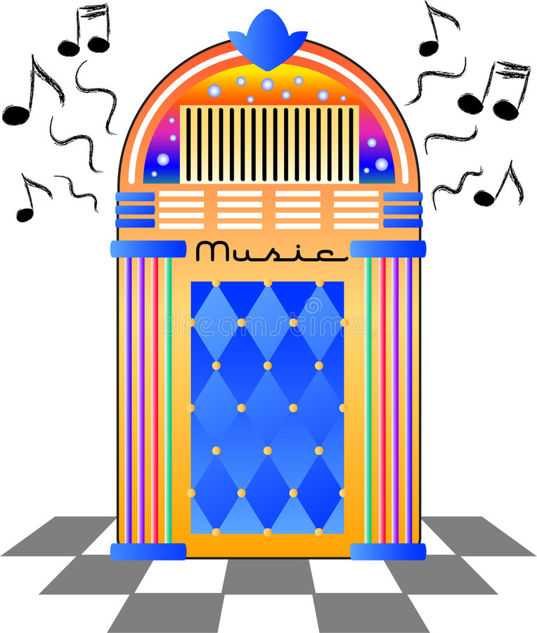 Retro Jukebox/eps. Brightly colored illustration of an old-fashioned music jukebox royalty free illustration