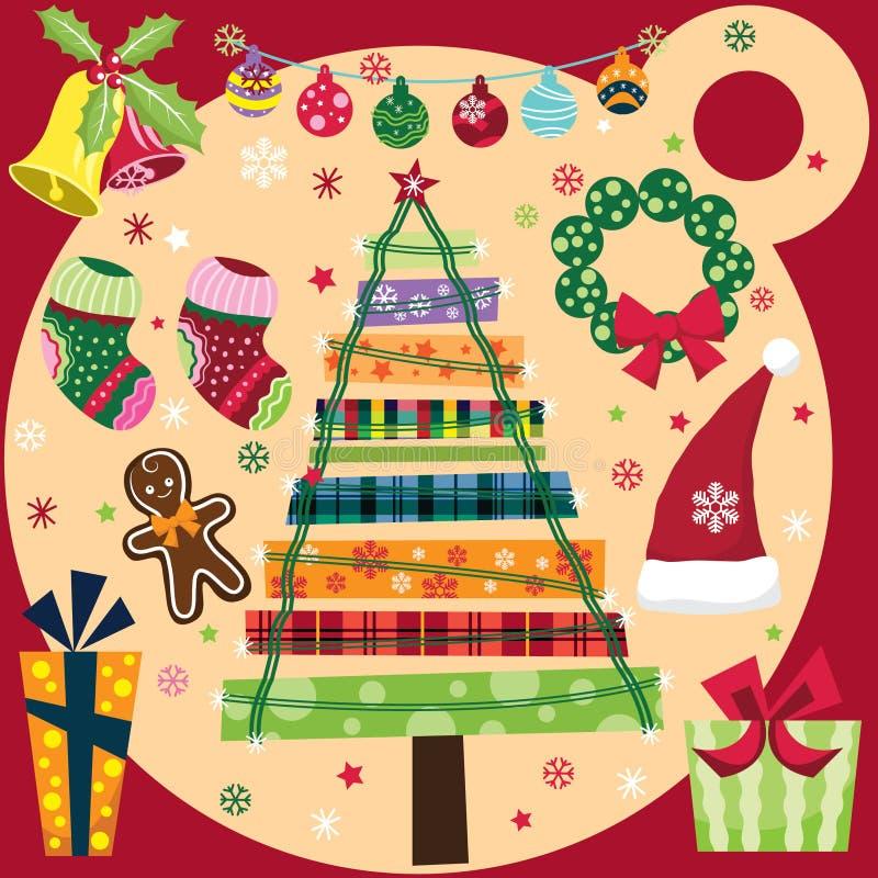 Retro julbeståndsdeluppsättning royaltyfri illustrationer