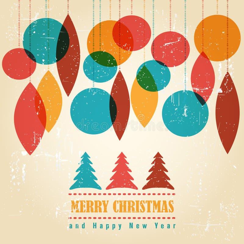 Retro julkort med julsymboler vektor illustrationer