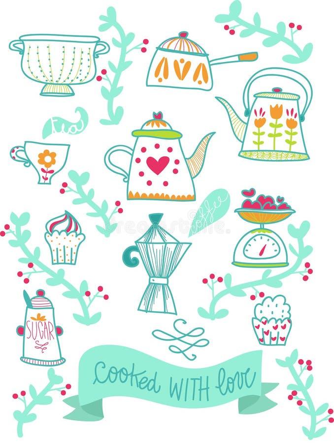 Retro kökillustration för recept stock illustrationer