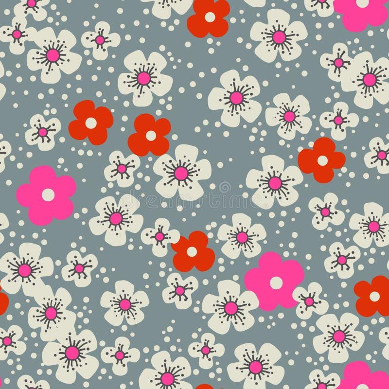 Retro körsbärsröda blomningar royaltyfri illustrationer