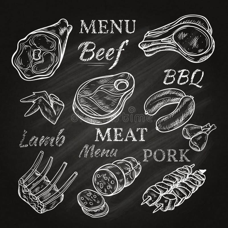 Retro köttmenysymboler på den svart tavlan stock illustrationer