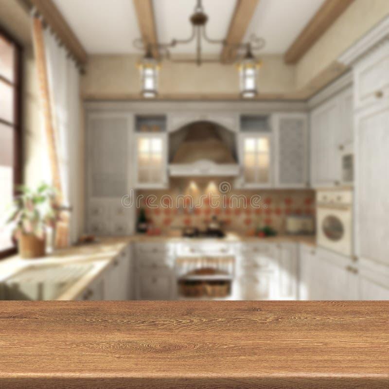 Retro- Küche, Holztisch auf Unschärfehintergrund für Produktmontageanzeige lizenzfreie abbildung