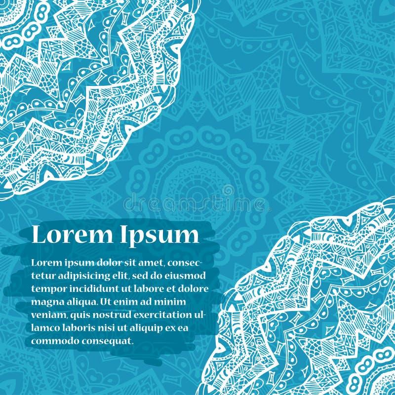 Retro kaart met mandala Uitstekende achtergrond met plaats voor tekst vector illustratie