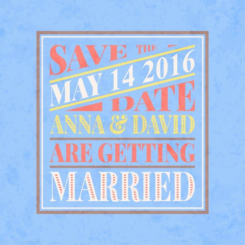 Retro Kaart van de Huwelijksuitnodiging stock illustratie