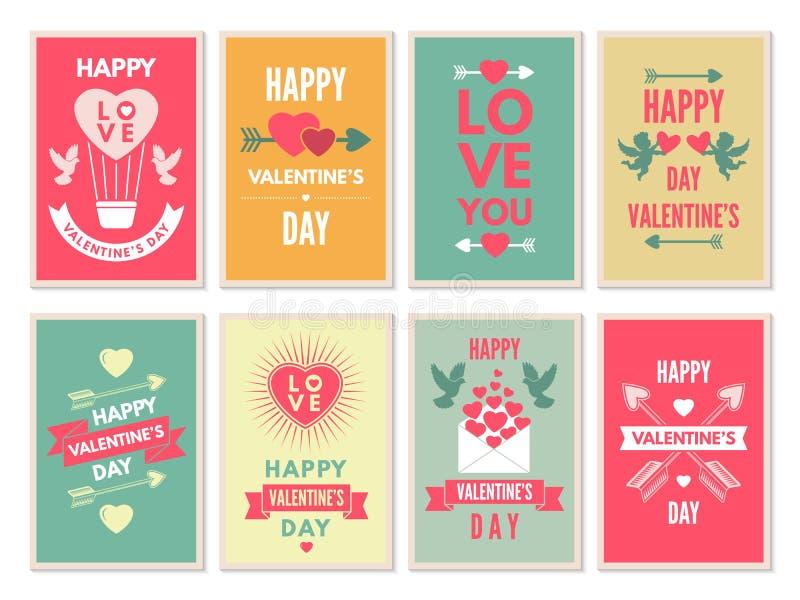 Retro kaarten voor gelukkige valentijnskaartendag Vectorontwerpmalplaatje met plaats voor uw tekst stock illustratie