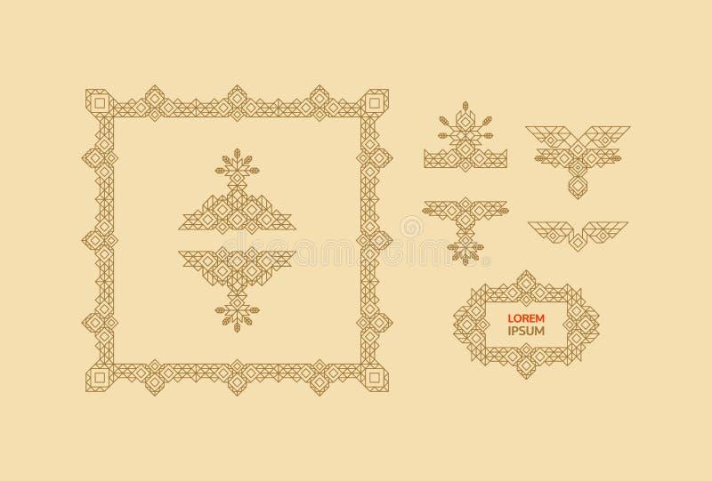 Retro Kader met Plaats voor Tekst Uitstekend Decoratieelement Lijn Art Design voor Uitnodigingen, Affiches en Kentekens vector illustratie
