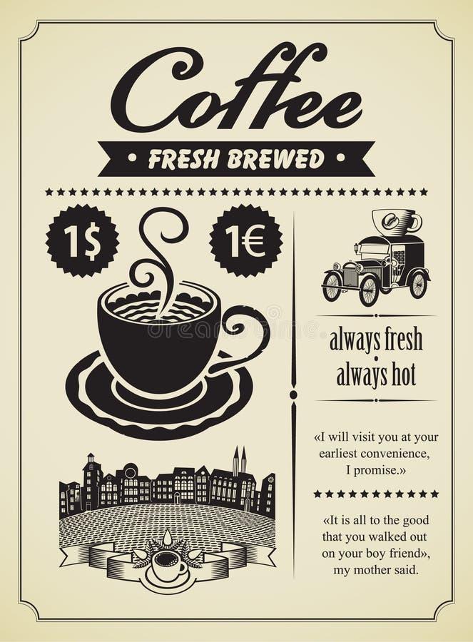 Retro kaffe royaltyfri illustrationer