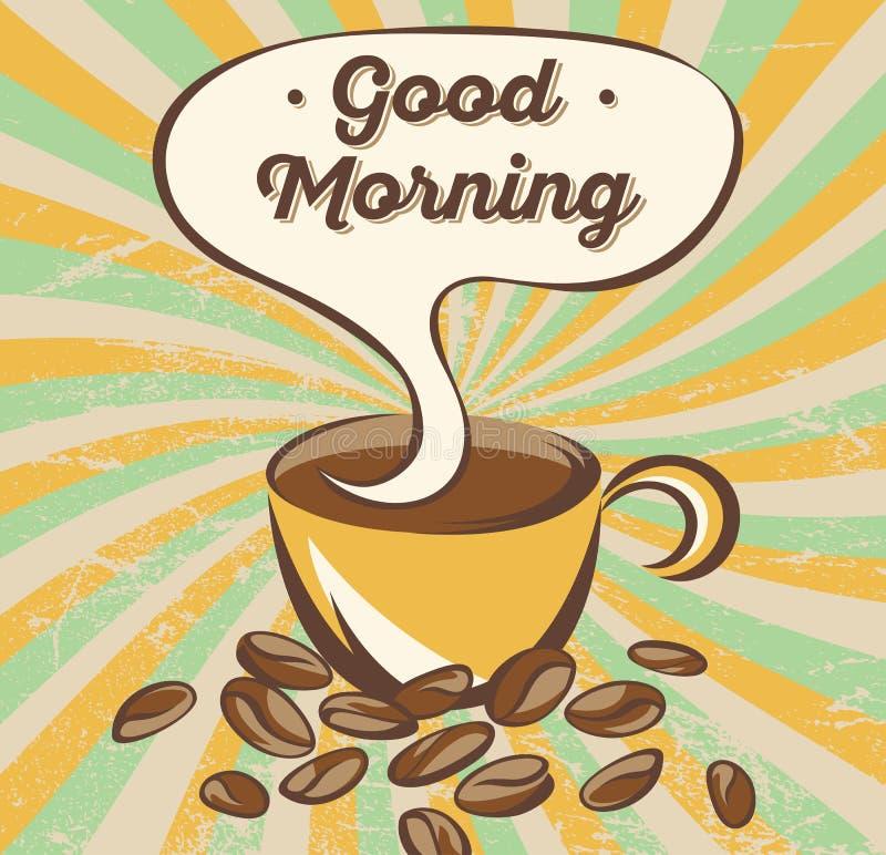 Retro- Kaffeefahnenkonzept Werbungsplakat mit Beschriftung: guten Morgen lizenzfreie abbildung