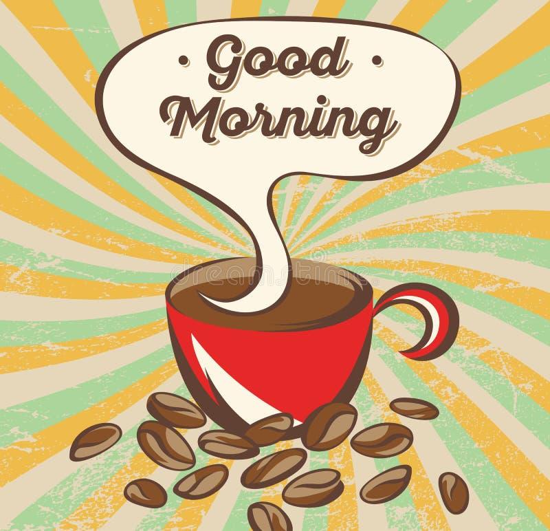 Retro- Kaffeefahnenkonzept Werbungsplakat mit Beschriftung: guten Morgen stock abbildung