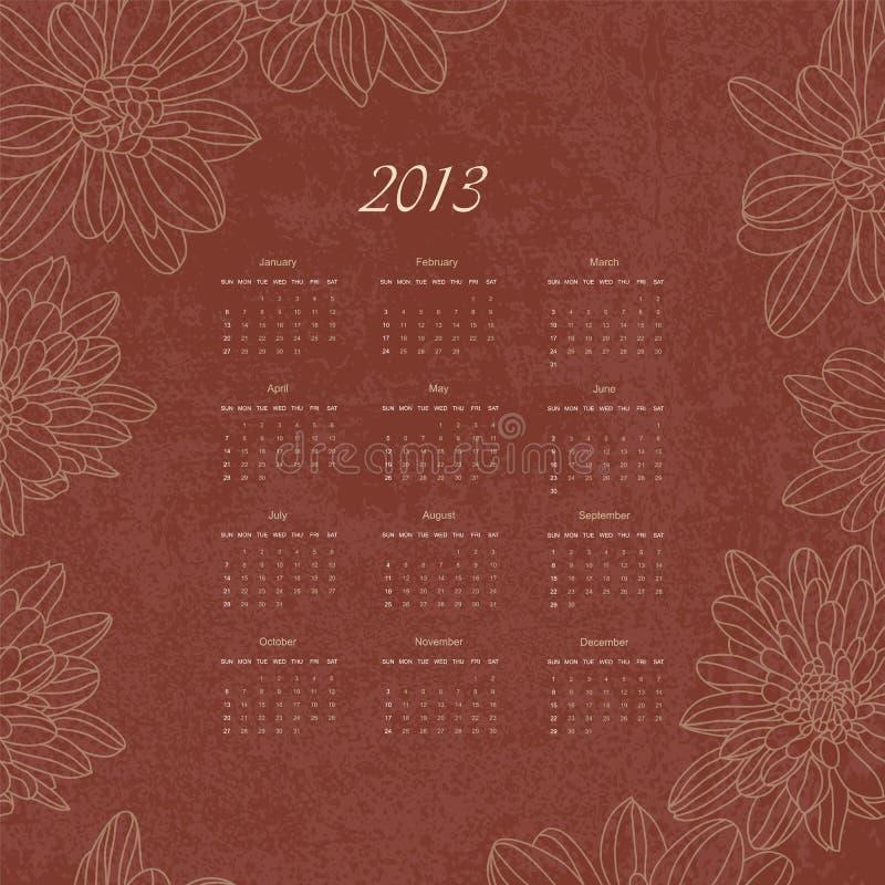 Retro- Kalender der Weinlese des Vektors des neuen Jahres 2013 lizenzfreie abbildung