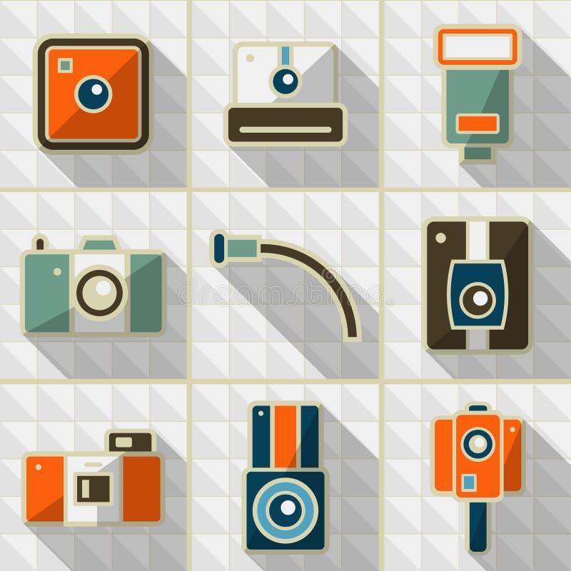 Retro kamera för symboler vektor illustrationer
