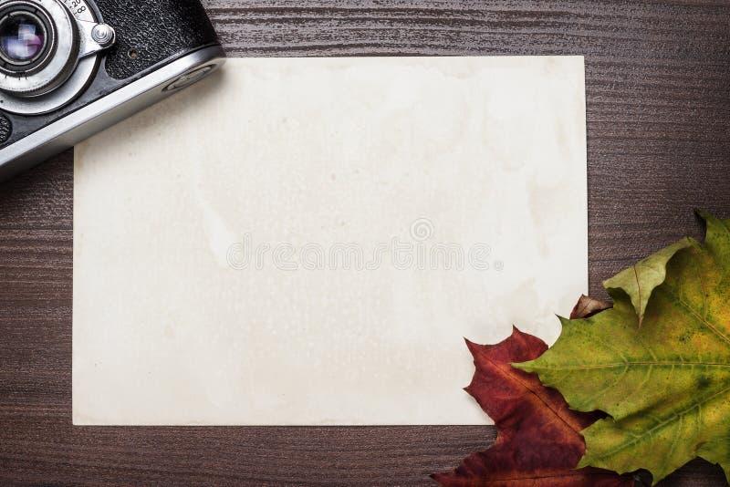 Retro kamera i jesień niektóre liść zdjęcie stock
