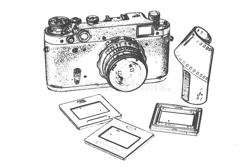 Retro- Kamera mit Zubehör stockbild