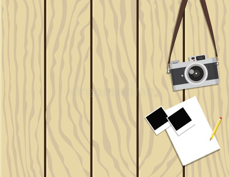 Retro kamera- och ögonblickfotoramar på träbakgrund stock illustrationer