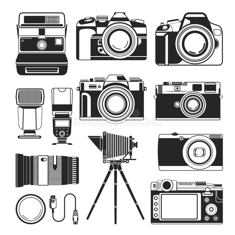 Retro- Kamera und alter oder moderner Fotografieausrüstungsvektor, Schattenbildikonen vektor abbildung