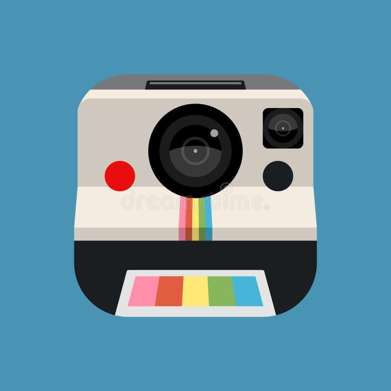 Retro- Kamera-Vektor-Ikone Schablone mit Web-Nutzer schließt an (UI) lizenzfreie abbildung