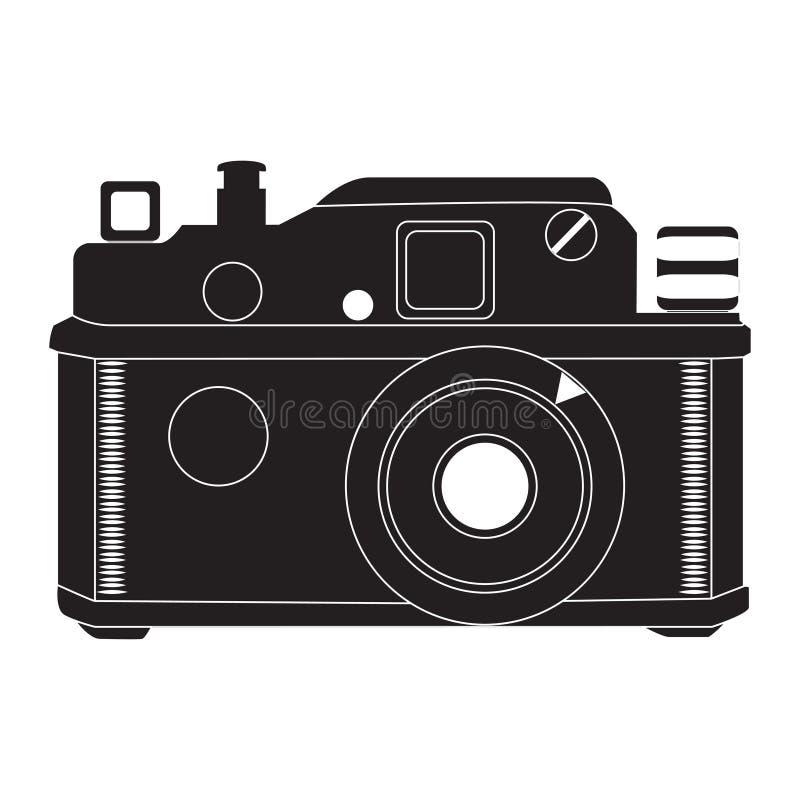 Retro kamera w czarny i biały wektorze royalty ilustracja
