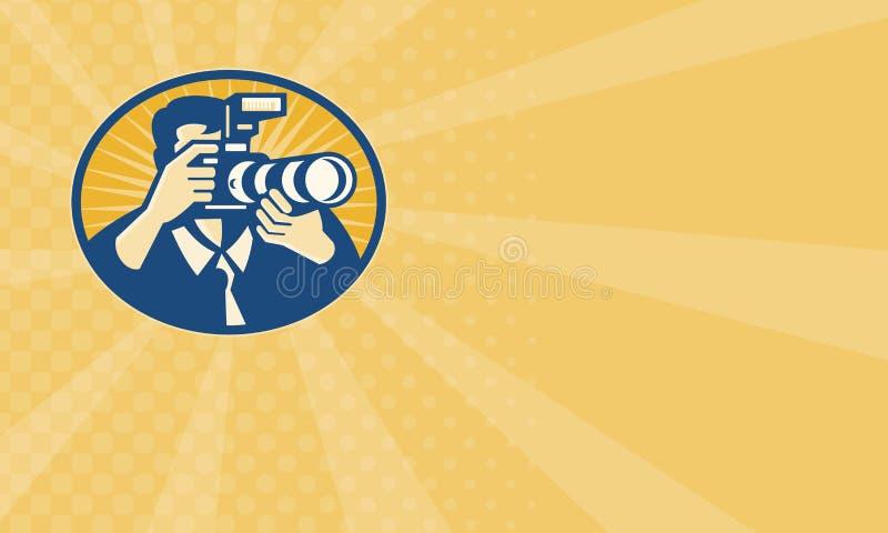 Retro kameraskytte för fotograf DSLR royaltyfri illustrationer