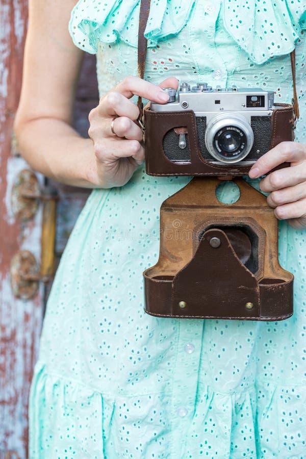 retro kamery dziewczyna obrazy stock