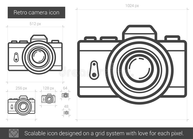 Retro kamery linii ikona ilustracji