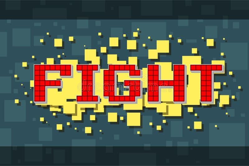 Retro kampknapp för rött PIXEL för videospel royaltyfri illustrationer