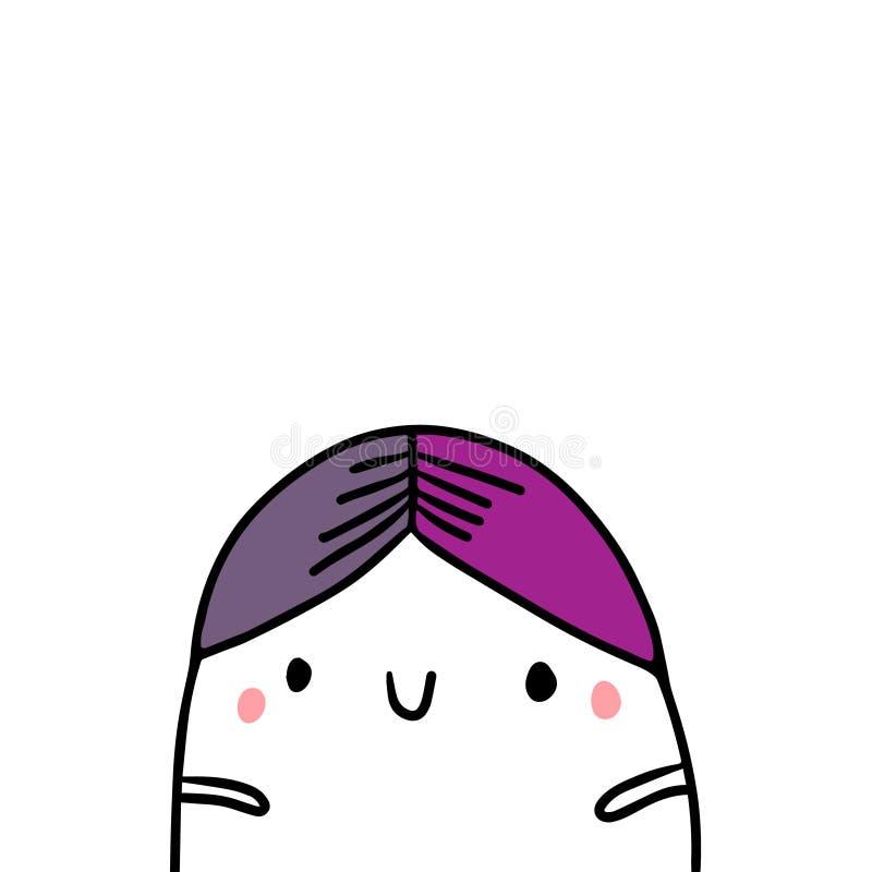 Retro kapeluszowa ręka rysująca rocznik ilustracja z ślicznym marshmallow royalty ilustracja